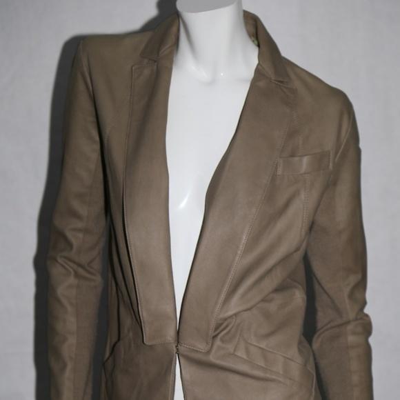 VEDA Jackets & Blazers - VEDA Beige Leather Blazer Jacket Size M
